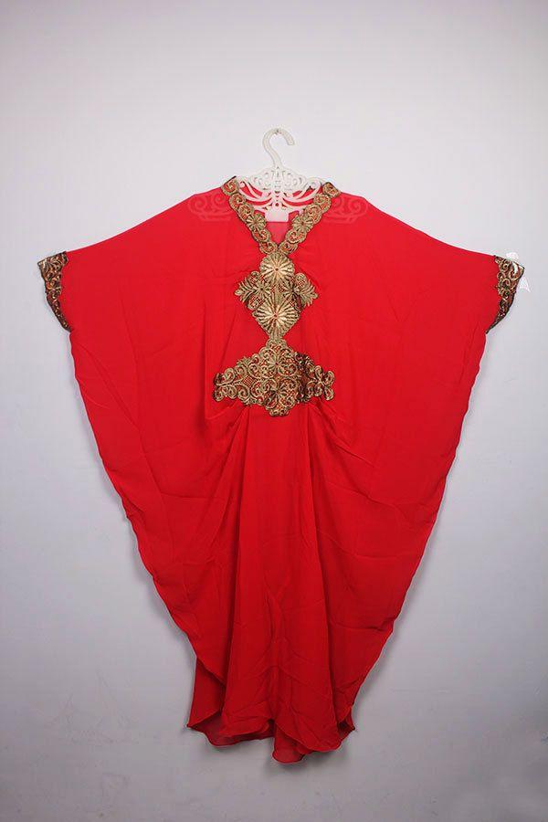 Wedding Moroccan Red Chiffon islamic Caftan Party Maxi Dress Gold Embroidery #Handmade #MaxiDress #weddingparty