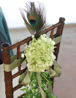 #Chair #Decor #Green #Peacock #Ribbon #Flowers #Wedding