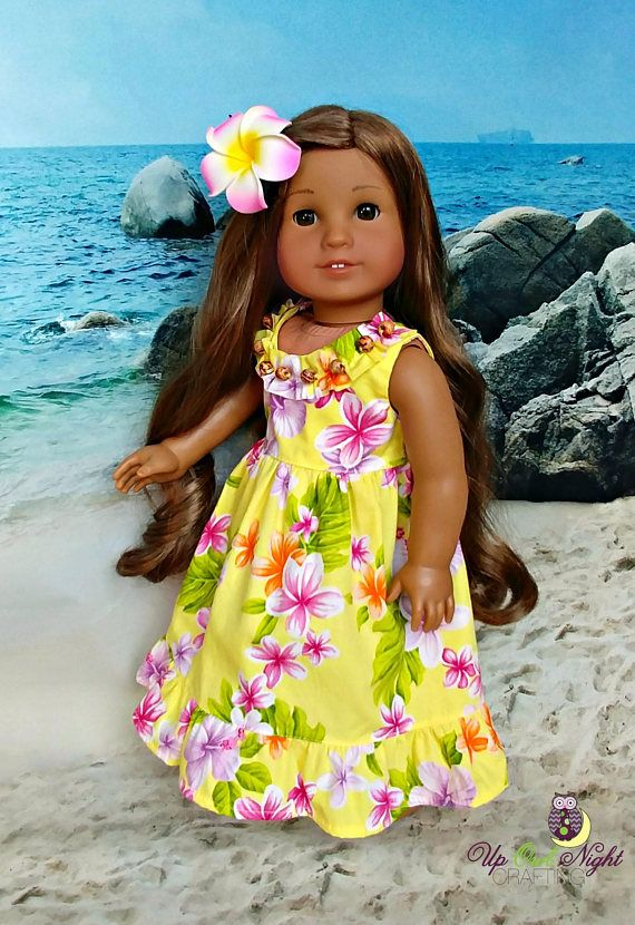 Doll Hawaiian Tropical Sundress Set in Yellow-- fits American Girl