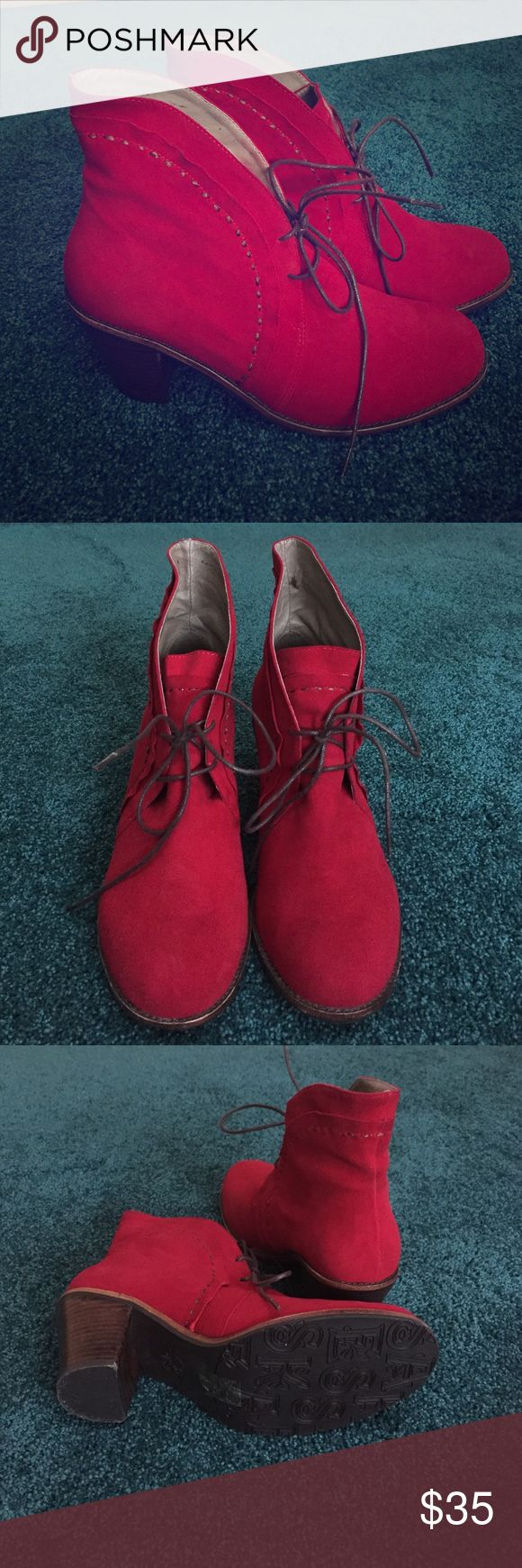 """Red suede booties Funky red suede booties with 3"""" brown stacked heel. Cute & comfortable. Worn only once or twice. Esska Shoes Ankle Boots & Booties"""