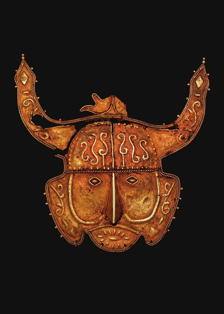 Indonesia ~ Southeast Maluku | Horned ancestor mask pendant ~ 'mase' ~ gold alloy | 17th century | Source: 'Gold Jewellery of the Indonesian Archipelago', page 67