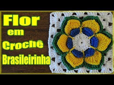 Walkthrough Flower Crochet Brasileirinha - Teacher Simone - YouTube