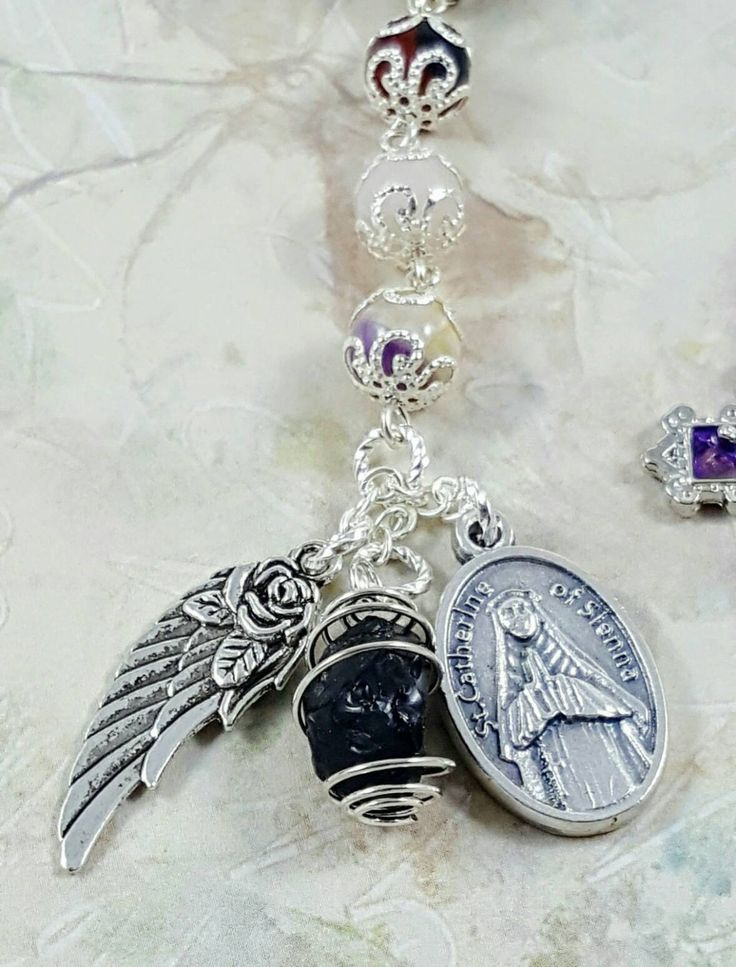 Custom Miscarriage Child Infant Loss St Catherine of Sienna Grieving Remembrance Natural Gemstones Emotional Healing Pocket Rosary Tenner  We understand that the loss of a child can bring an immense pain, we hope that Gods prayers and our rosaries with soothing gemstones can bring you some peace and heal your wounds. Please let us know if you would like us to add birthstone/predicted birthday and initial of your precious angels name to your rosary. - Carnelian, Peach Moonstone, Chevron A...