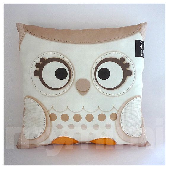 "12 x 12"" Owl Pillow, White Christmas, Snow Owl, Woodland Animal, Owl Decor, Christmas Decor, Baby Bedroom, Owl Nursery Decor"