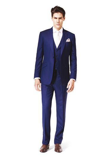 Bloom 3 piece suit-gorge #men.      Ivory tie against white shirt