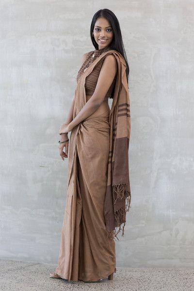 Tan cotton saree.