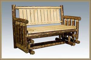 Log Glider - Rustic Outdoor Bench - Log Deck Glider Porch Bench