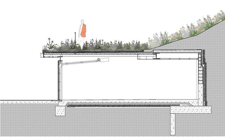 railing on green roof in section detail - Google Search