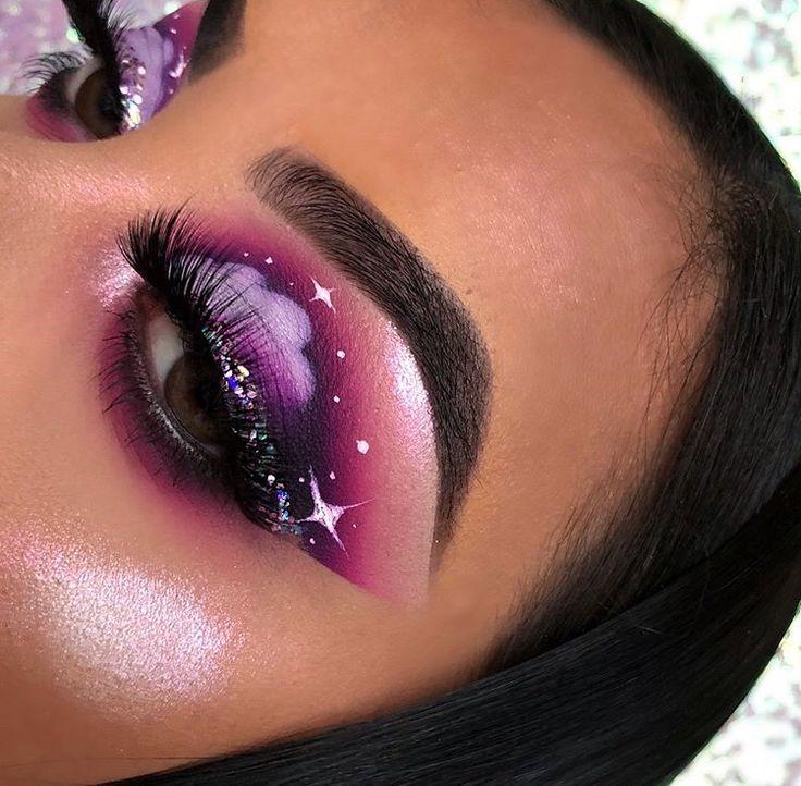 Purple Cloud Makeup With Starts Purple Smokey Aesthetic Makeup