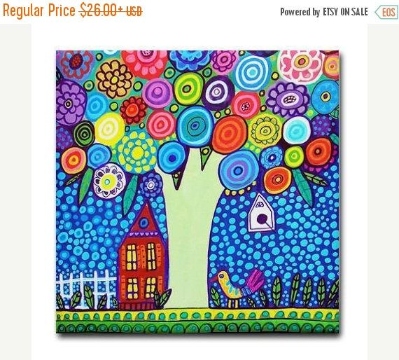 45% Off Today- Tree art Tile Ceramic Coaster Mexican Folk Art Print of painting by Heather Galler