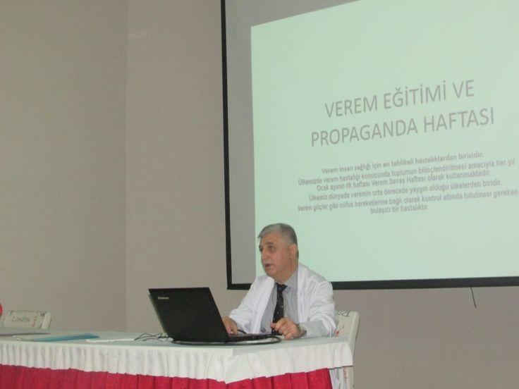 """Göğüs Hastalıkları Uzmanı Dr. Fatih KEBANLI hocamızın vermiş olduğu """"Verem Eğitimi ve Propoganda Haftası"""" semineri"""