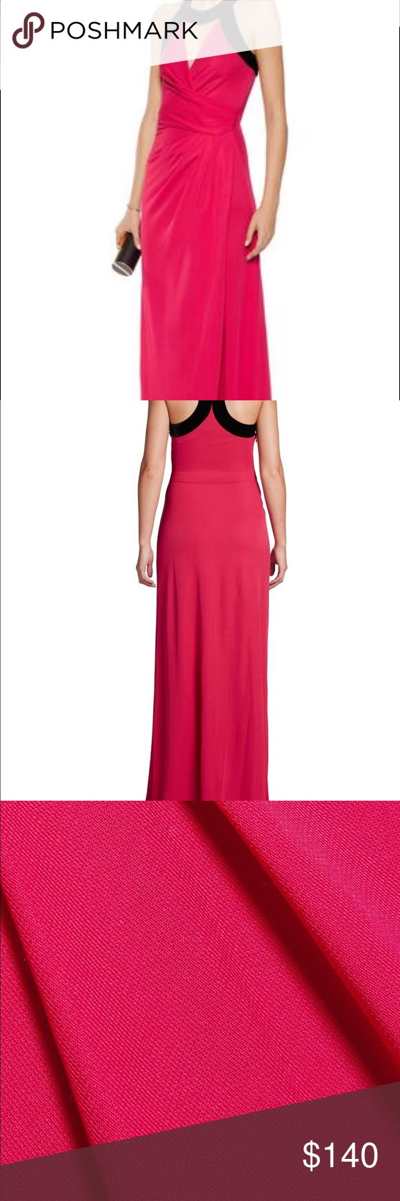Halston Heritage Red Velvet-Trim Mock Wrap Gown Halston Heritage bright-pink (reads red to my eye) gown - Cutout front, wrap-effect bodice, front slit, black velvet trims, partially lined- Concealed zip fastening along side. When you walk or sit the front slit opens up in a classic sexy look. I wore it once to a client's annual fundraiser. Now it's yours! PS Brought my dad as my date. 🙌 91% rayon, 9% nylon; trim: 82% rayon, 18% silk- Dry clean Halston Heritage Dresses Maxi