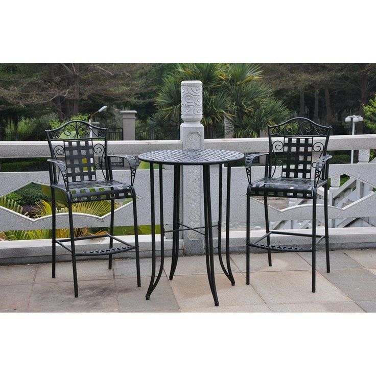 Add an elegant charm to your patio decor with the Three Posts <br/>3 Piece Wrought Iron Bar Height Bistro Patio Set. This set comprises of a round table and two arm chairs. It can blend in with traditional inspired decors with great flamboyance. The 3 Piece Wrought Iron Bar Height Bistro Patio Set from Three Posts<br/>is made from high quality wrought iron, which makes it sturdy and durable. It has a burnished black antique finish that enhances different ...