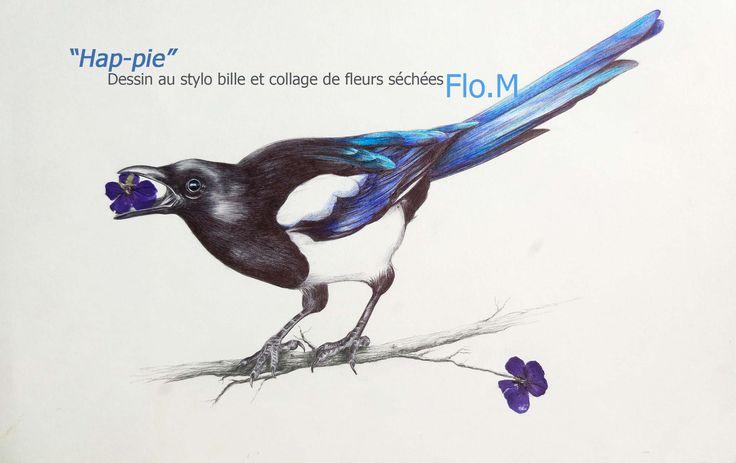 """""""Hap-pie"""" A VENDRE dessin au stylo bille collage de fleurs séchées crayon (branche) 110€ (+10€ pour les frais de port)  https://www.facebook.com/Flo.Megardon/"""