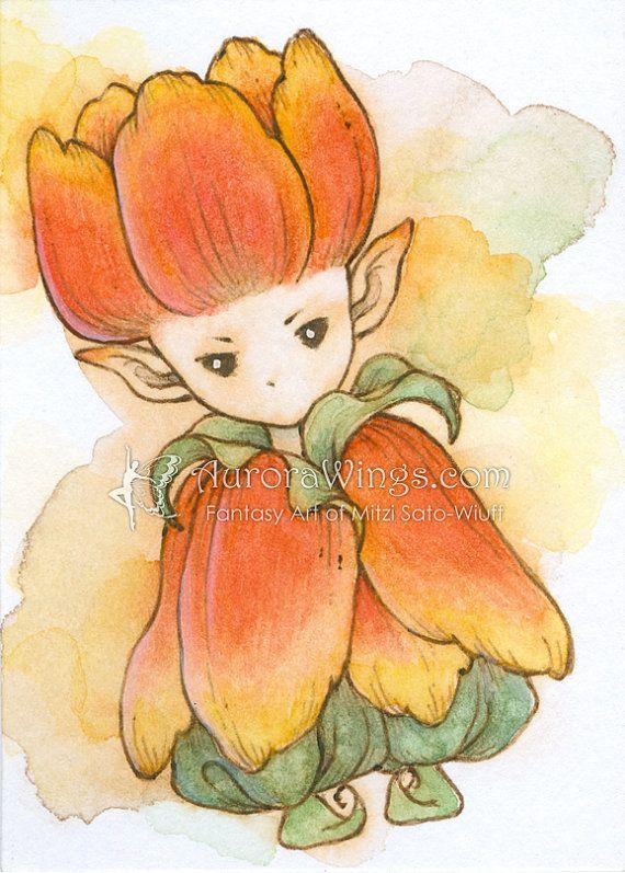 Ouvrez ACEO à tirage - lunatique tulipe Orange Sprite - mignonne petite fleur fée - Fantasy Art par Mitzi Sato-Wiuff