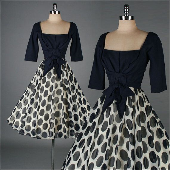 vintage 1950s dress . blue and white polka dot cocktail dress . 3370