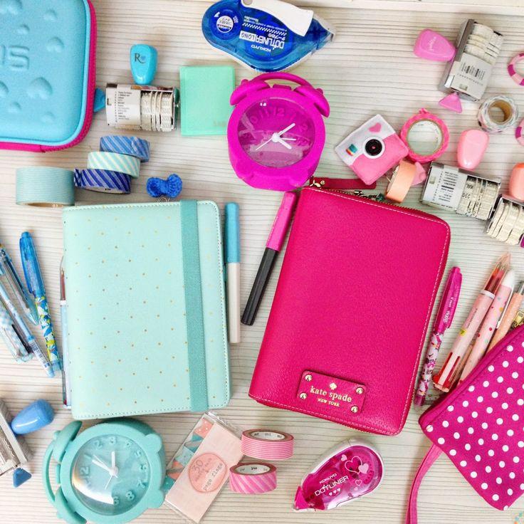 Happie Scrappie: Pink Kate Spade Planner vs Mint Kikki K Planner