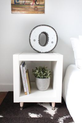 DIY IKEA Hack Side table -  I have to do this and get rid of the ugly one I found on someone's curb! The rest of my bedroom furniture is expedit!