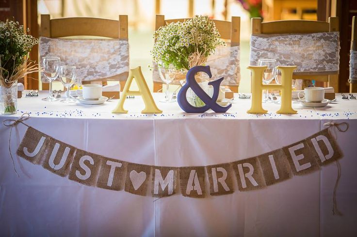 'Just Married' Bunting Across the Top Table. Copyright www.davidfenwick.co.uk www.theferryhouseinn.co.uk