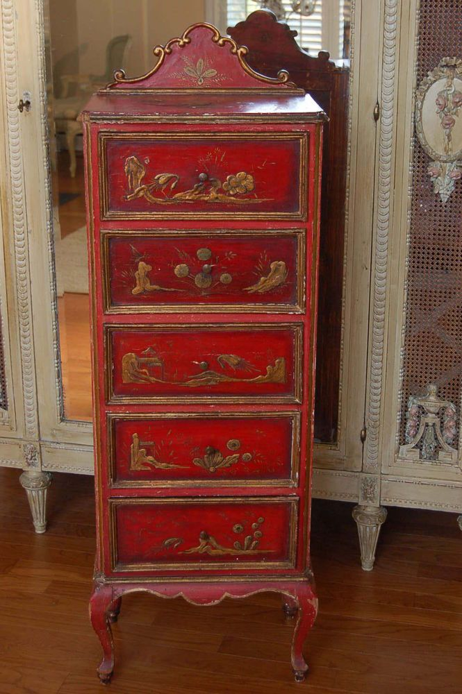 Antique Italian Chest Dresser Lingerie Cabinet Venetian Florentine Chinoiserie in Antiques | eBay