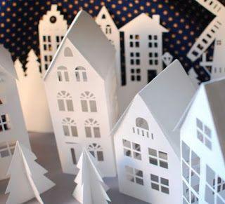 Pueblito navideño de papel con moldes y tutorial para hacer ~ lodijoella