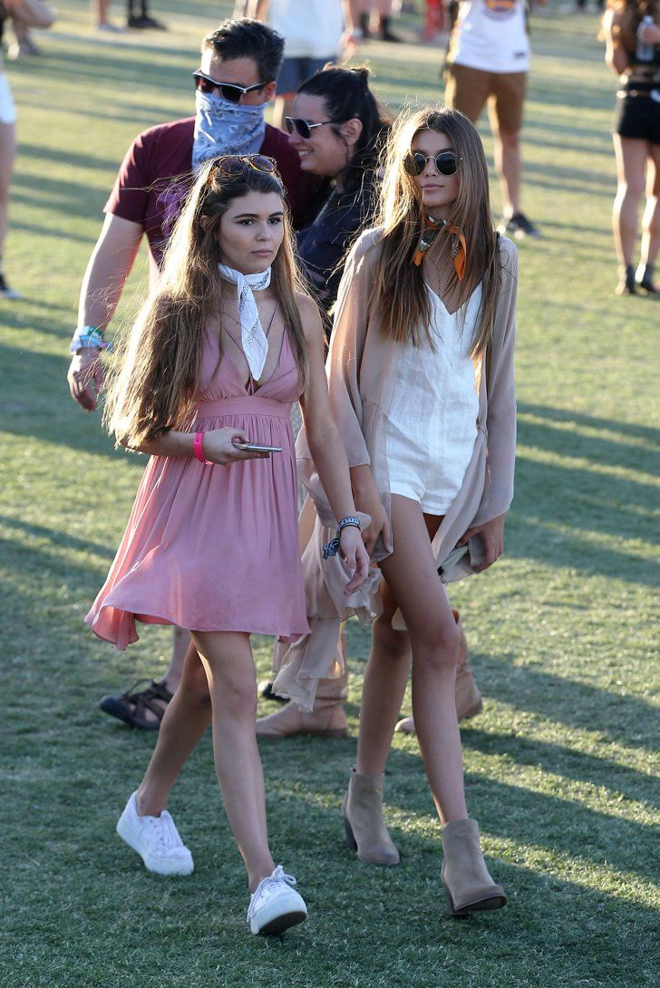 Pin for Later: Kaia Gerber Nailed Festival Style on Her Very First Try  Kaia joined friend Olivia Giannulli, walking the festival in a crisp white romper and a scarf to finish it all off.