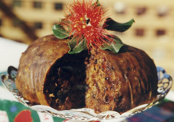 Christmas pudding cooked in a traditional cloth