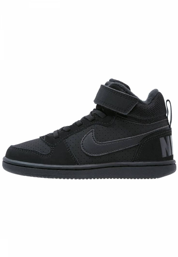 COURT BOROUGH  - High-top trainers - black. upper material:leather and imitation leather. shoe toecap:round. shoe fastener:Velcro fastening. Cover sole:textile. Pattern:plain. Padding type:Cold padding. Sole:synthetics. Internal material:tex...