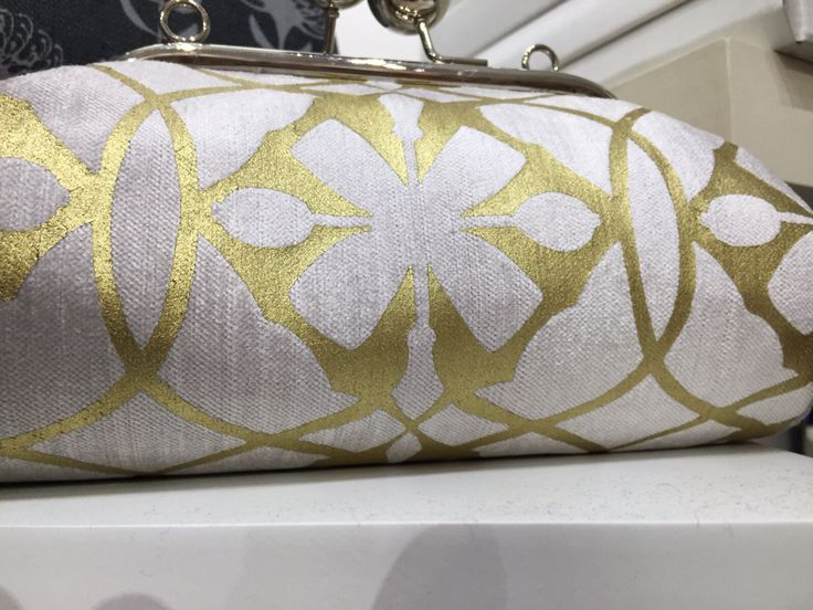 SQ Bobble clutch bag in reflection Eco Velvet & hand printed Geometric glamour in Metallic Gold with detachable strap  www.suziequ.co.uk