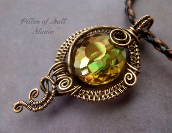 Wire Wrapped Pendant of amber glass and copper / wire wrapped jewelry handmade by PillarOfSaltStudio