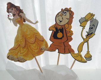 3 pezzo bellezza e il bestia Disney Principessa centrotavola, compleanno principessa, principessa partito Decor, decorazioni di principessa, Topper, centrotavola