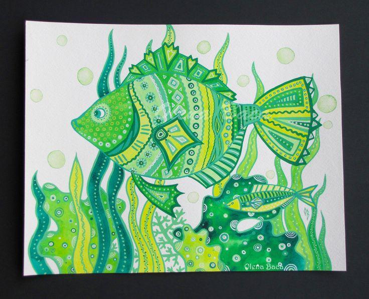 Pesce verde Acquerello pittura / originale / di OlenaBacasArt
