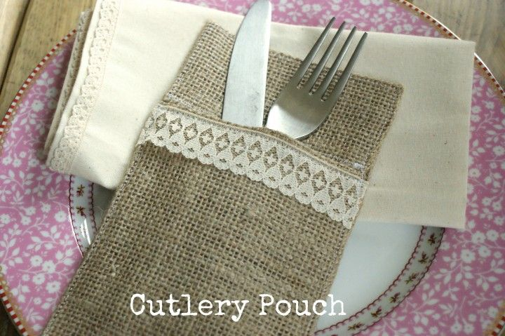 "diy burlap cutlery pouch ... make this with Creative Bags's 4"" wide burlap ribbon and you don't have to worry about folding under the side seams! Great time saver if you are planning to make a lot of these!!!"