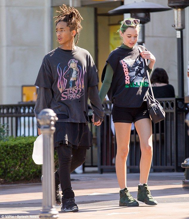 Smitten: Jaden Smith and girlfriend Sarah Snyder walked hand in hand after romantic lunch date in Calabasas on Saturday