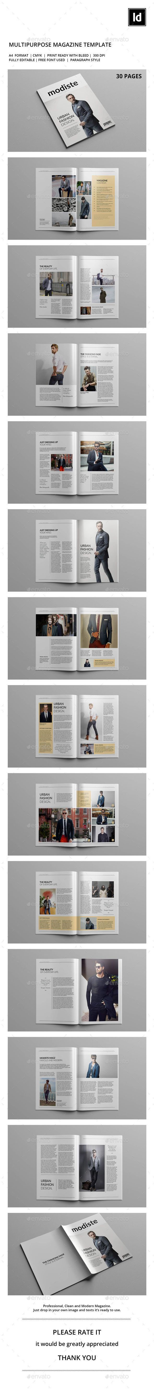 Modiste Magazine Template InDesign INDD. Download here: https://graphicriver.net/item/modiste-magazine-template/17309093?ref=ksioks