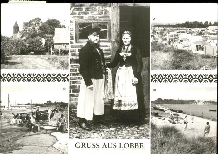 Postkarte DDR:Lobbe Middelhagen Ruegen Ortspartie Fischer Alte Moenchguter Tracht Zeltplatz Strand.Gepinnt von Gabi Wieczorek