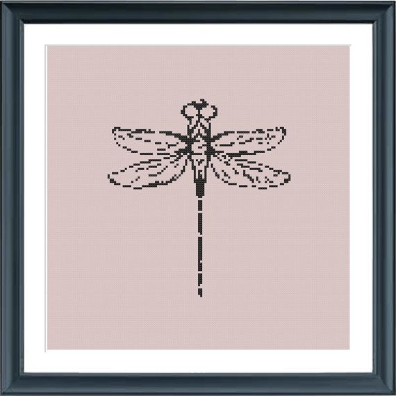 cross stitch pattern dragonfly insect pattern modern by Happinesst