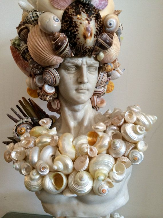 Amazing Statue Head Bust covered in Seashells by SHOPFINCA on Etsy