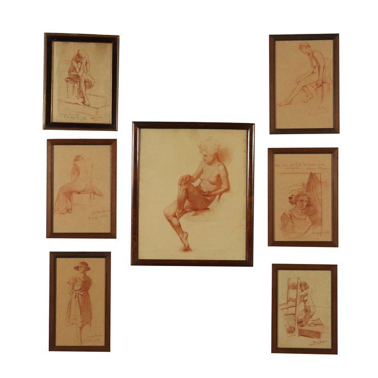 Sieben Zeichnungen von Anna Bocca Pastell auf Papier 20. Jarhundert