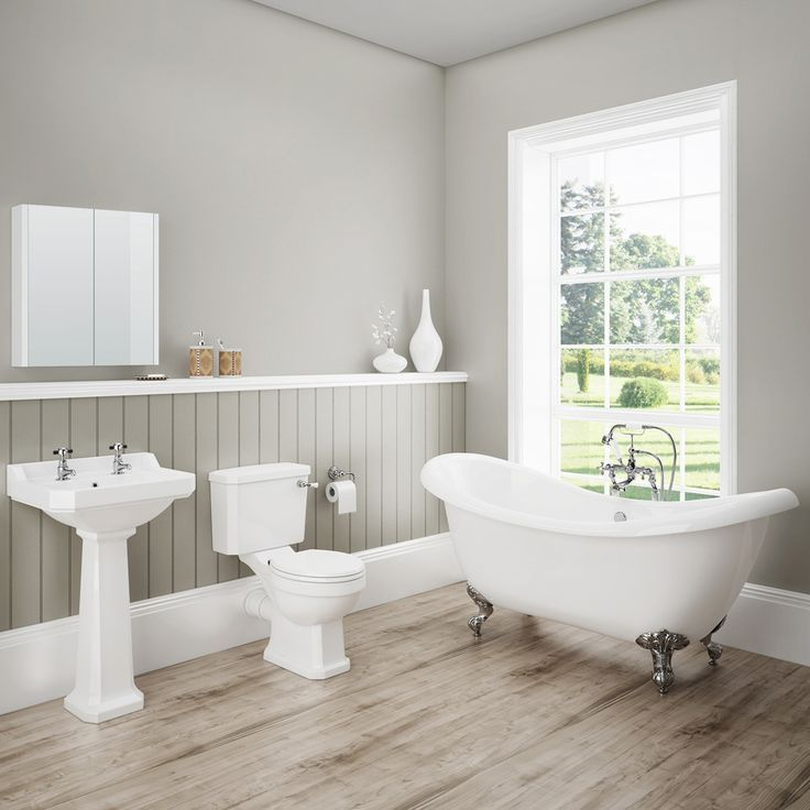 Images Photos Discover the beautiful lines of our Darwin Traditional Bathroom Suite Features a toilet basin and gorgeous freestanding bath Now at Victorian Plumbing
