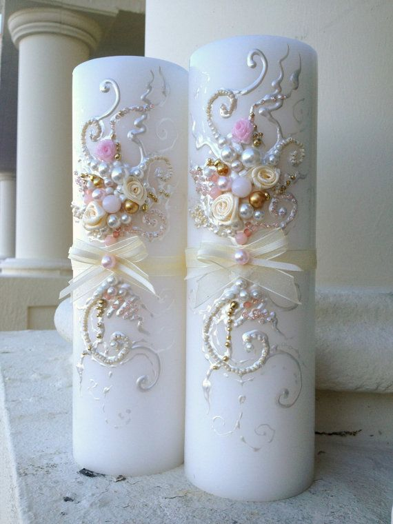 Wedding memorial candle in ivory gold and blush by PureBeautyArt