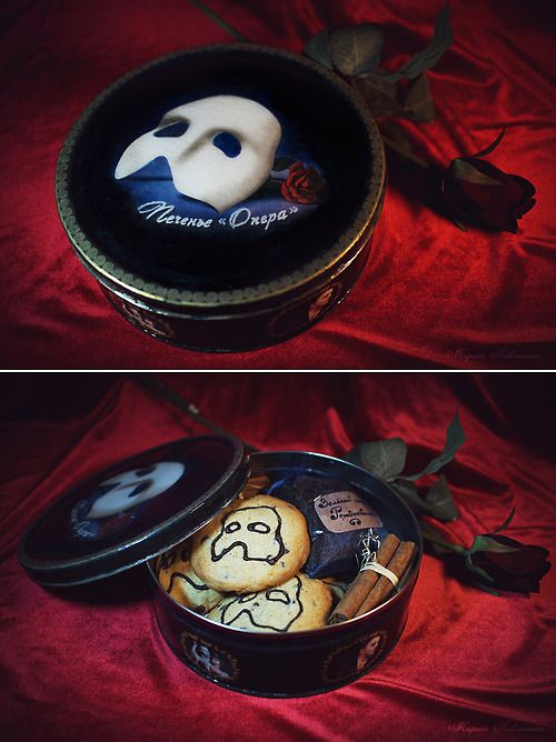"""Cookies """"Opera"""" by me. Inspired by the Russian production of the musical """"The Phantom of the Opera"""". Actually the cookies with the chocolate drawing were made to order because I have no special small cookie press. But the idea and design is mine. And the box was made by me of course, it's decoupage."""