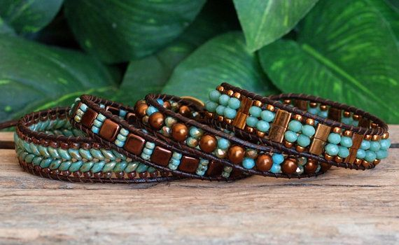 Turquoise Bronze Beaded Wrap Bracelet, Beaded Leather Wrap, Tila Super Duo Tile…