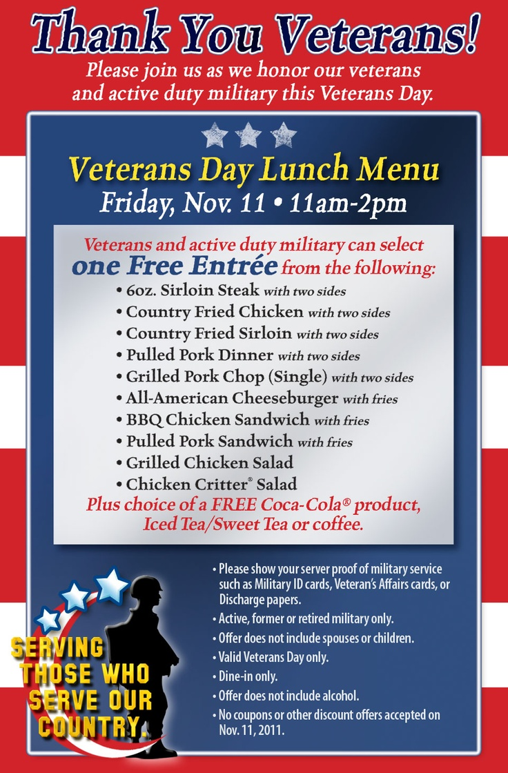 Free lunch for veterans and active duty military on Veterans Day at Texas Roadhouse