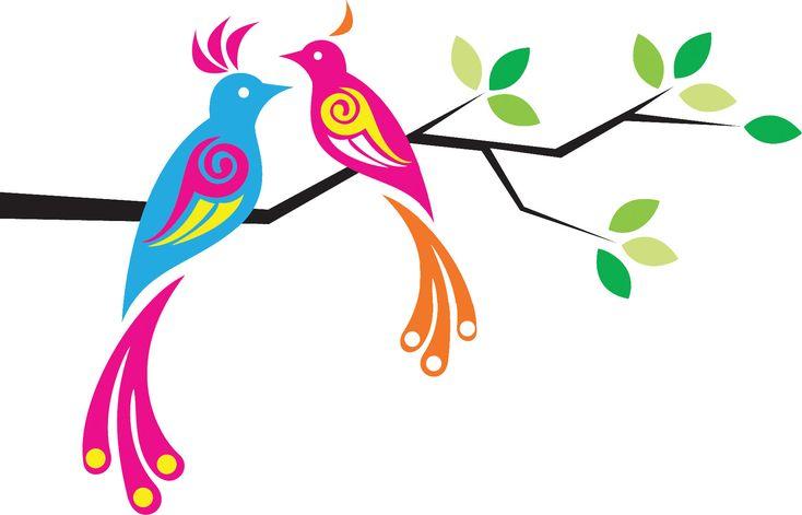 可愛い花のイラスト-枝葉と鳥のイラスト