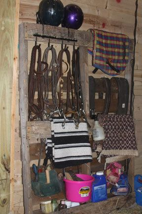 Horse Gear Pallet Storage Solution | A Spotted Pony
