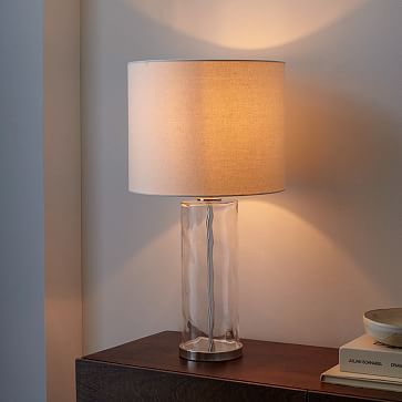 Our Blown Glass Table Lamp Has An Organic Texture That Pops Against Its Crisp Linen Shade