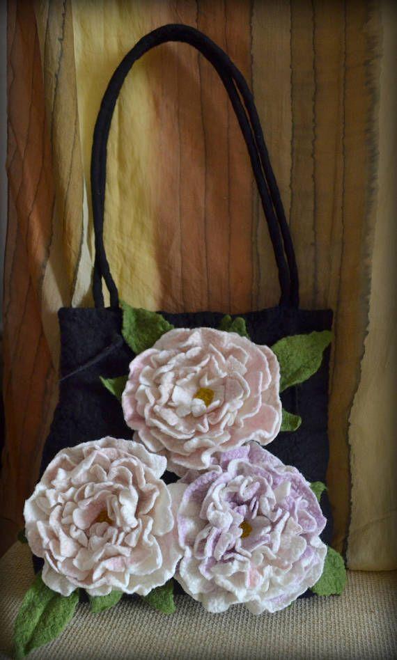 Tote bag Felted bag handmade bagfelted purse wool felt