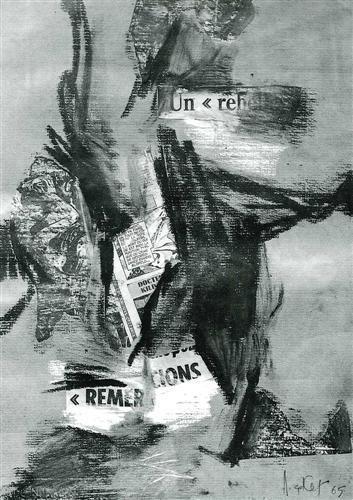 Adnan Çoker, Un rebelle (Başkaldıran) 1965 İmzalı Gri-mavi Ingres kağıdı üzerine kolaj ve yağlı pastel. Eski Gültekin Elibal Koleksiyonu.