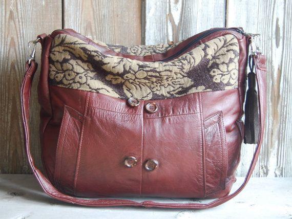 HoakonHelga oversized up-cycled leather and upholstery bag.